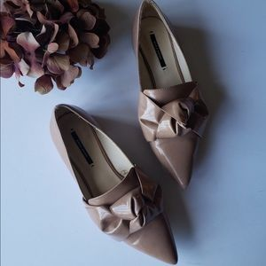 Zara Basic collection pointy flat bow loafer shoes
